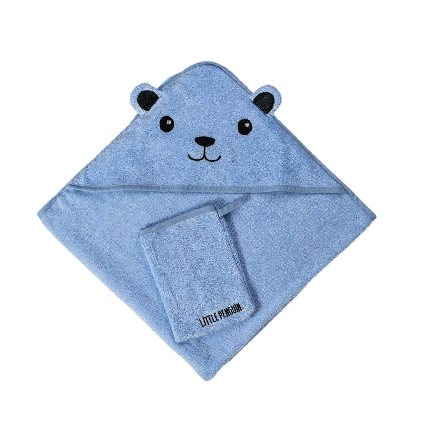 מגבת לתינוק עם קפוצ'ון - דגם כחול