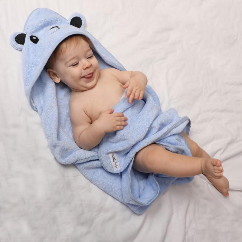 Детское полотенце с капюшоном - синий