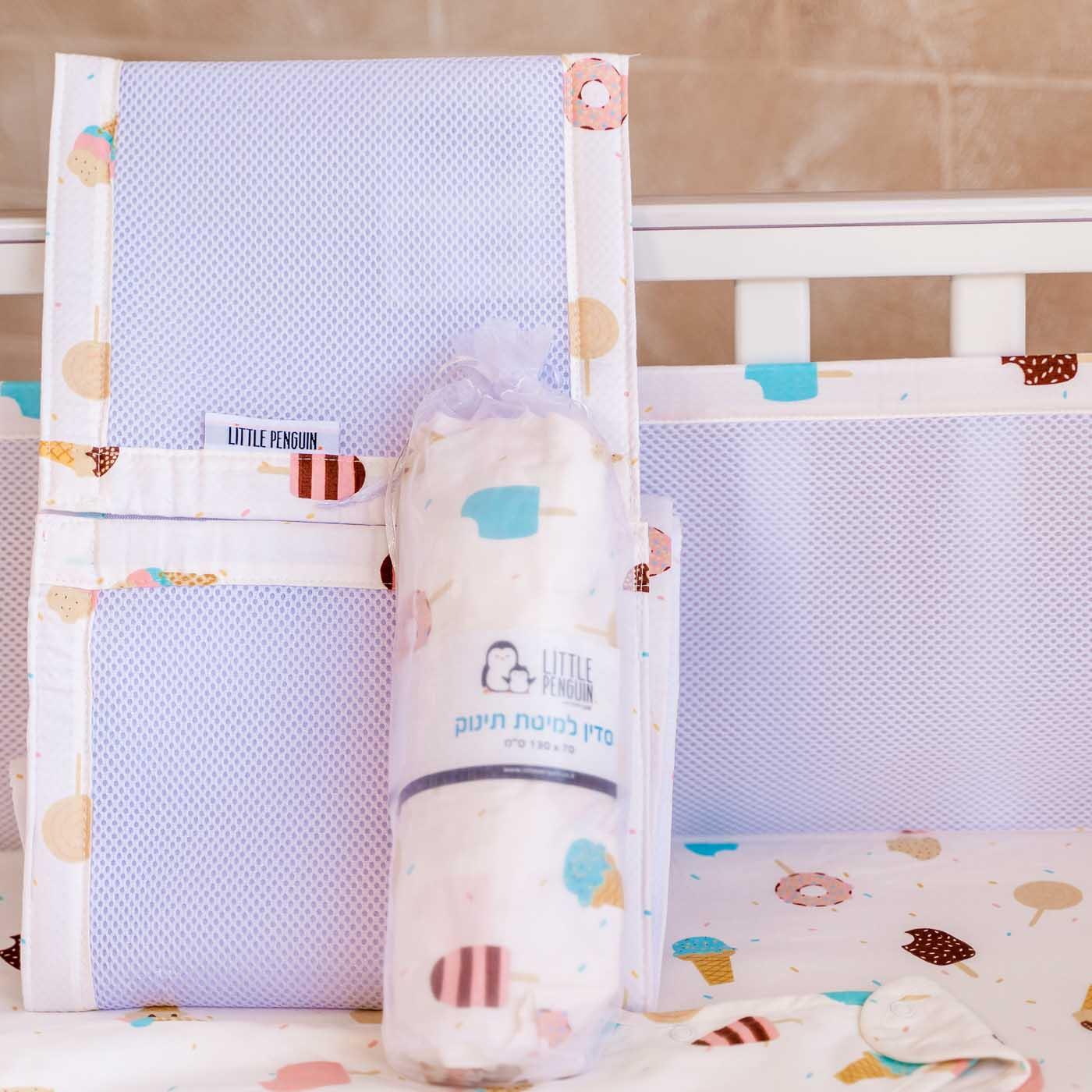 סדין למיטת תינוק - דגם גלידה