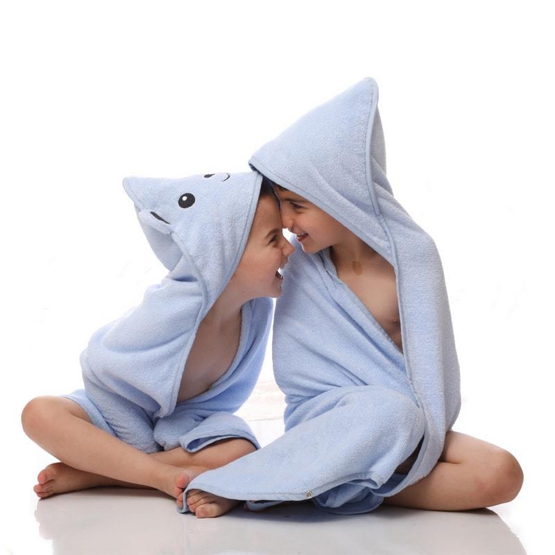 מגבת לתינוק עם קשירה - דגם כחול